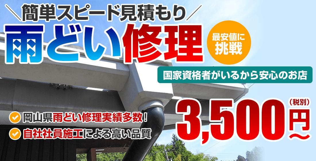 簡単スピード見積もり雨どい修理 最安値に 挑戦3,500(税別)円 ~ 国家資格者がいるから安心のお店